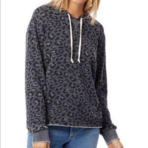 NWT gray leopard print hoodie sweatshirt